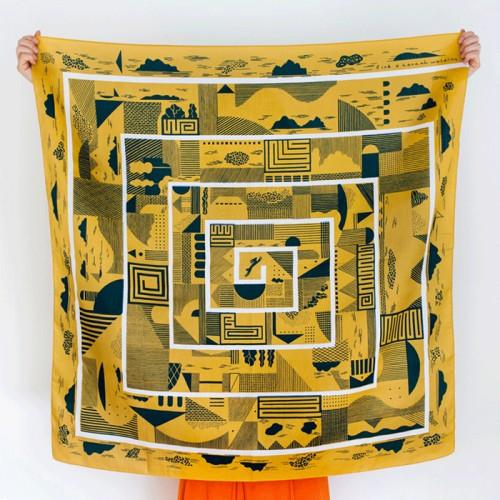 Maze Furoshiki (Mustard)