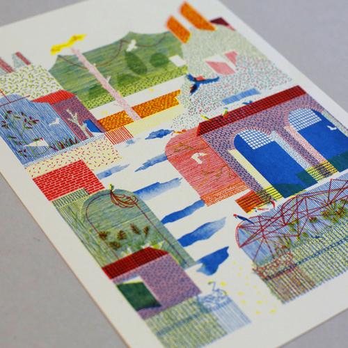 Maze furoshiki (mustard) + riso prints box special