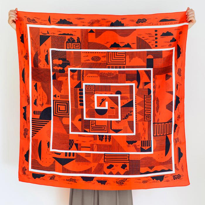 Maze furoshiki (cinnabar) + riso prints box special