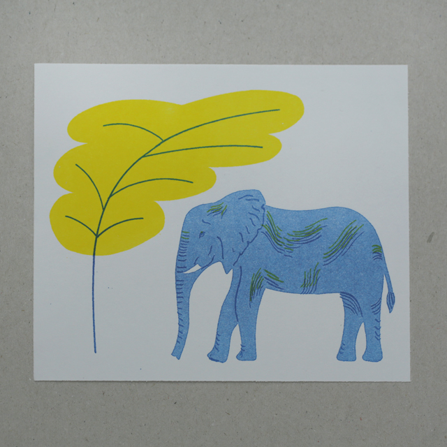 Elephant risograph print